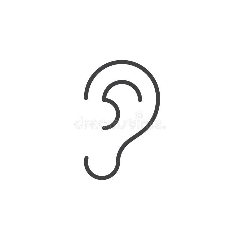 Oído, línea icono, muestra del vector del esquema, pictograma linear de la audición del estilo aislado en blanco libre illustration