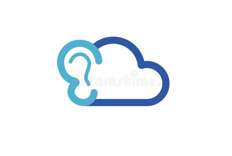 Oído Logo Design Illustration de la nube stock de ilustración