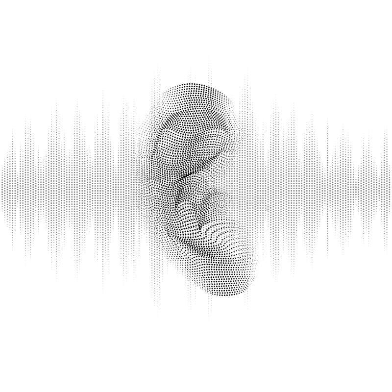 Oído que oye la onda acústica libre illustration