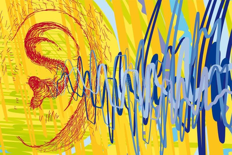 Oído y ondas acústicas stock de ilustración