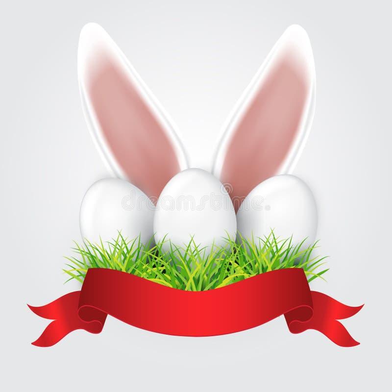 Oídos De Conejo Blancos De Pascua Que Se Pegan Fuera De La Hierba ...
