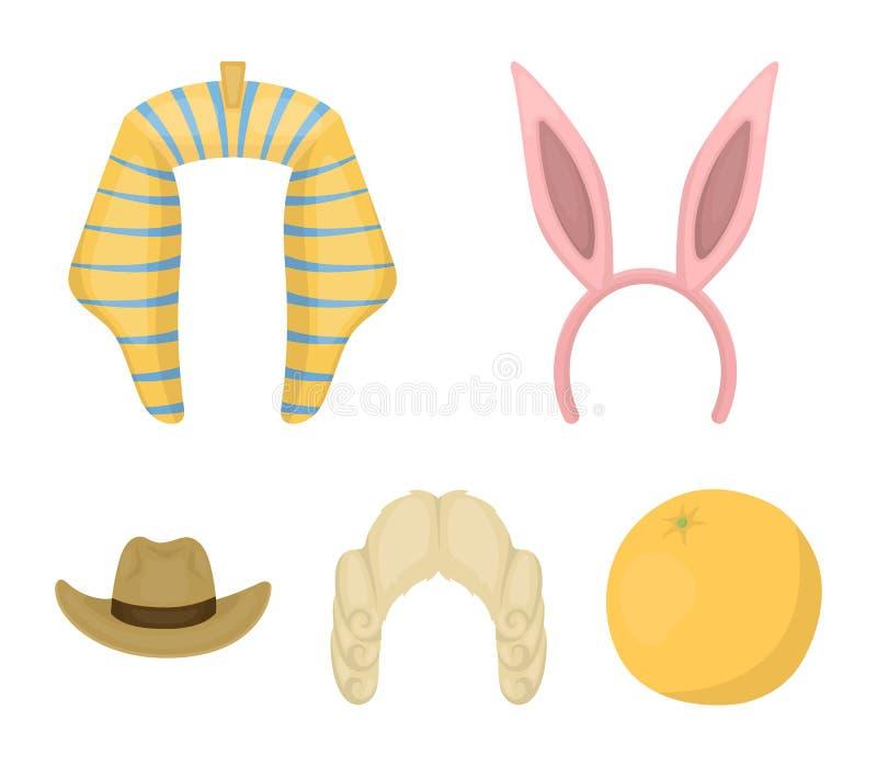 Oídos de conejo, peluca del juez, vaquero Los sombreros fijaron iconos de la colección en web del ejemplo de la acción del símbol ilustración del vector