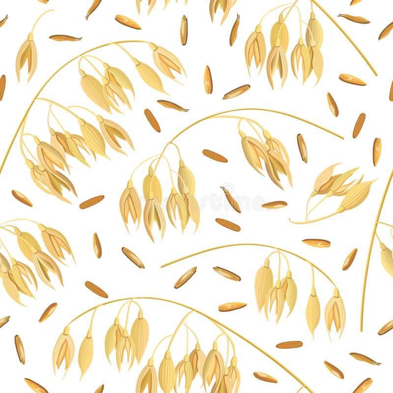 Oídos de la avena del grano y del salvado Vector inconsútil del modelo Punto y maíz de oro libre illustration