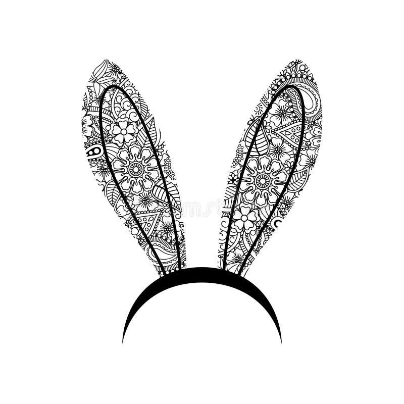 Oídos del conejito de la decoración Oiw ornamental de la venda de los oídos del conejito de la mujer, auriculares florales de las libre illustration