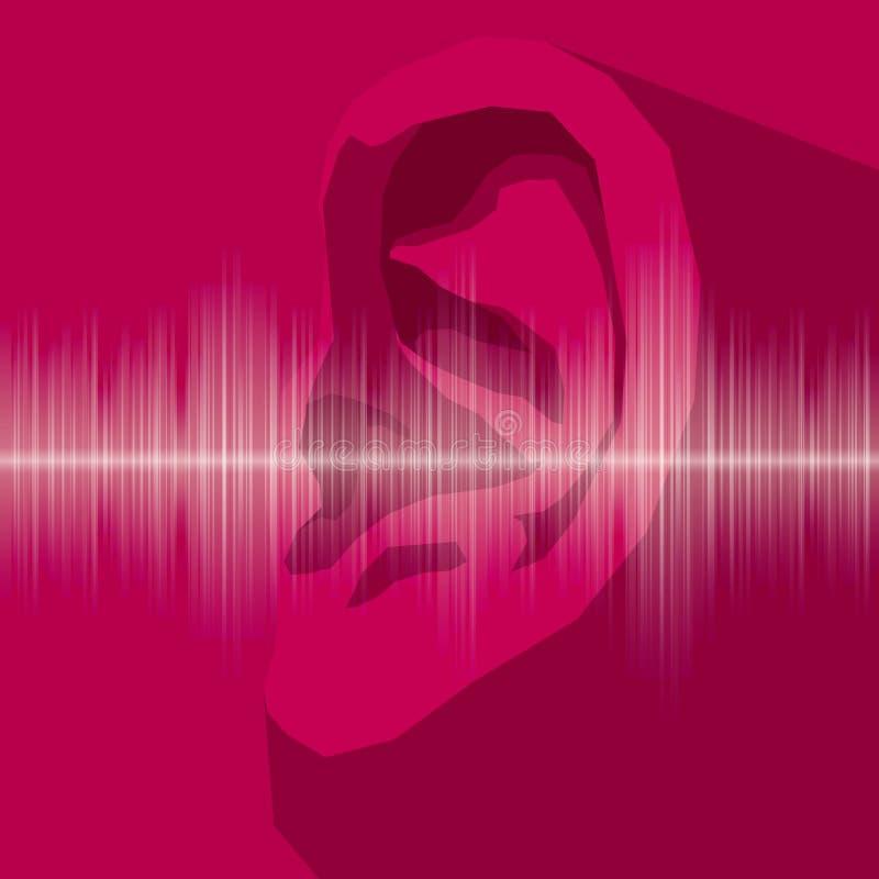 Oídos exhaustos del vector, prueba de audiencia ilustración del vector