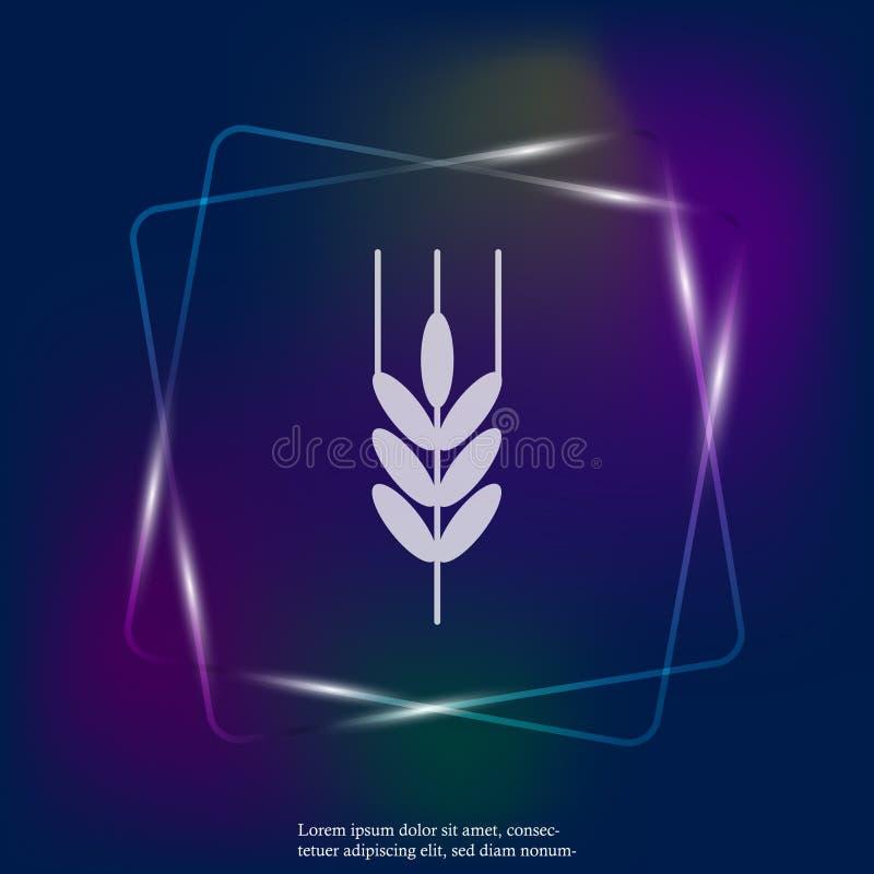 Oídos ligeros de neón del icono del vector del trigo, cereal Oído de la avena Ruda e stock de ilustración