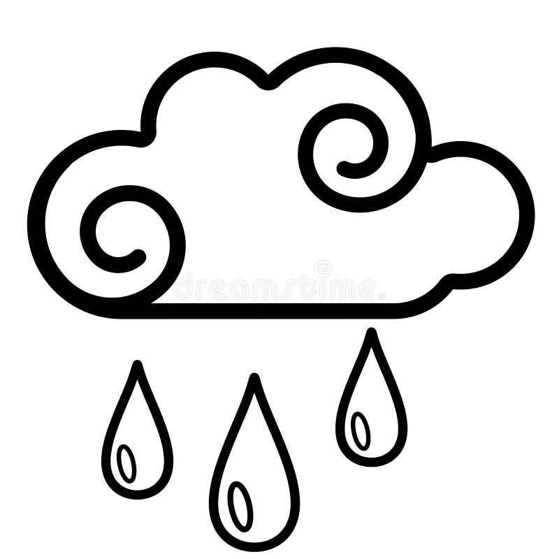 Облако, значок дождя Линия искусство Белая предпосылка Социальный значок средств массовой информации владение домашнего ключа при иллюстрация вектора