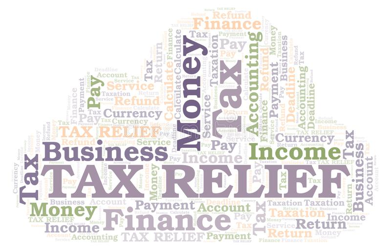 Облако слова освобождения от уплаты налога иллюстрация вектора