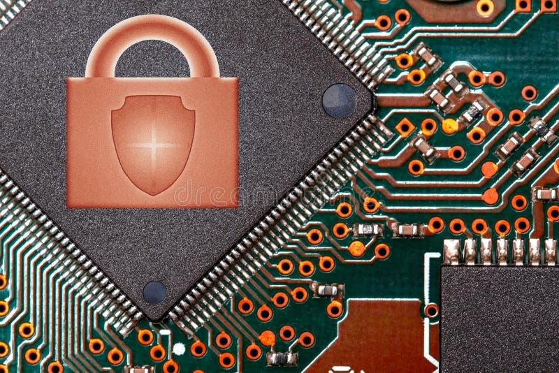 Обломок близкой поднимающей вверх цепи цифровой с логотипом замка концепция технологий безопасности стоковые изображения