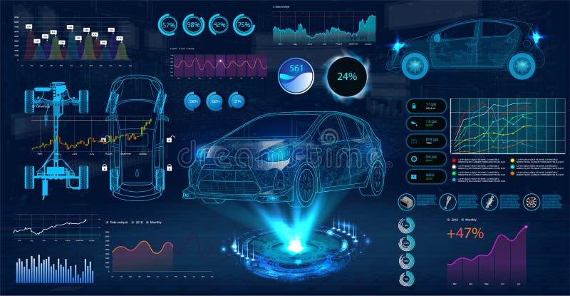 Обслуживание автомобиля в стиле HUD иллюстрация вектора