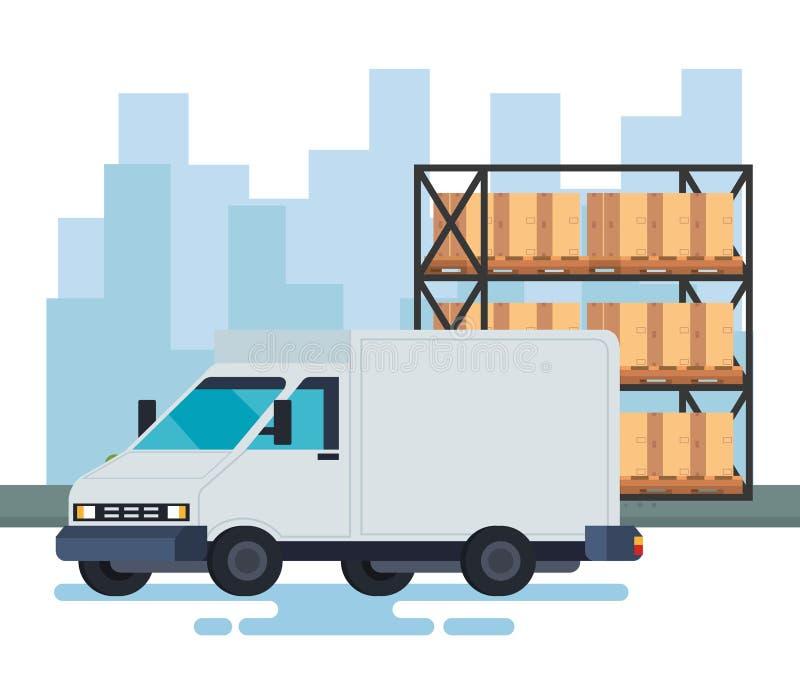 Обслуживание доставки фургон корабль в складе иллюстрация вектора