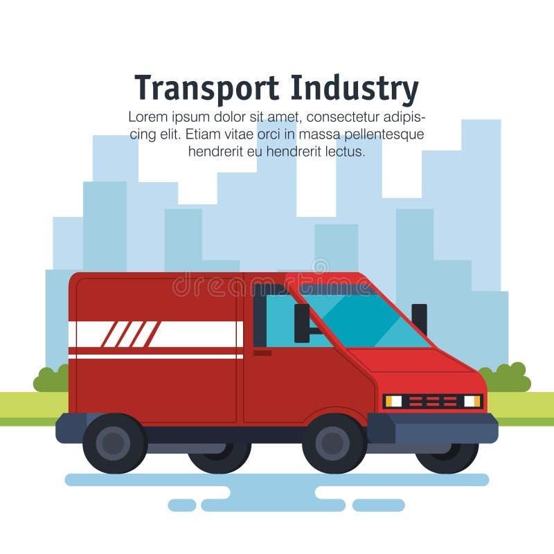 Обслуживание доставки фургон корабль иллюстрация вектора