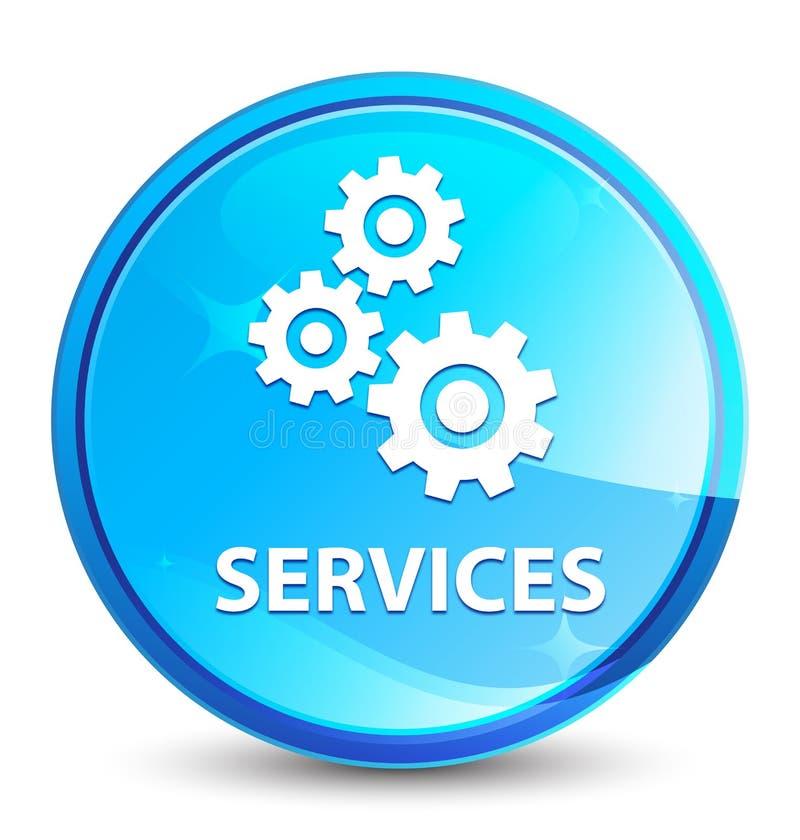 Обслуживания (значок шестерней) брызгают естественную голубую круглую кнопку иллюстрация вектора