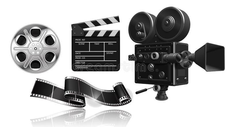 Объекты для киноиндустрии Репроектор фильма, прокладка фильма, вьюрок и clapperboard на белой предпосылке вектор 3d Высоко деталь иллюстрация вектора