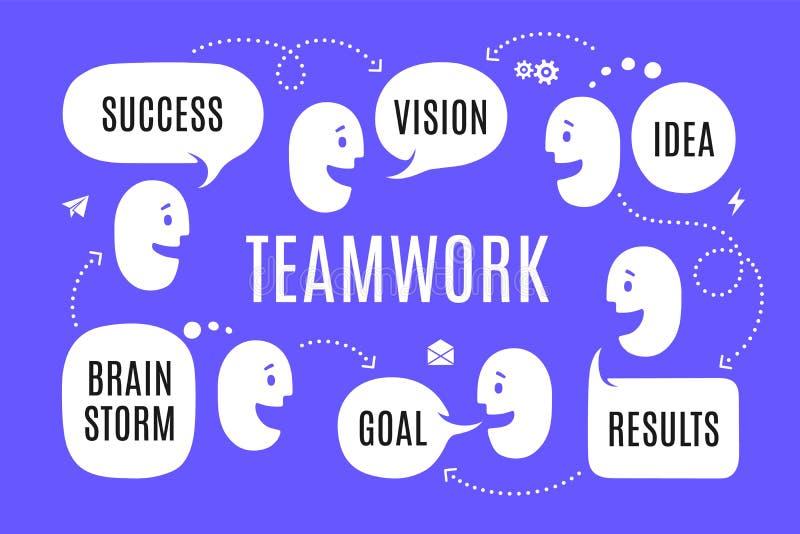 Объединяйтесь в команду люди с различным пузырем речи форм иллюстрация вектора