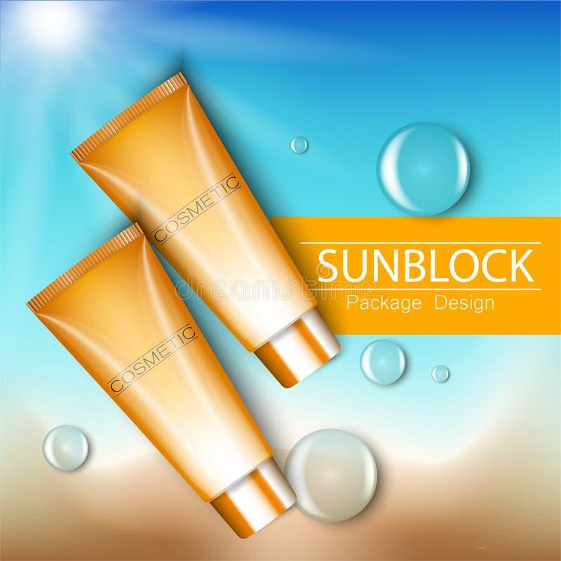Объявления шаблон Sunblock, продукты косметики предохранения от солнца иллюстрация 3D для кассеты или объявлений Бутылки оформлен бесплатная иллюстрация