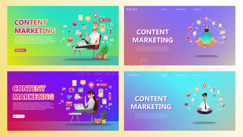 Content marketing landing page set royalty free illustration