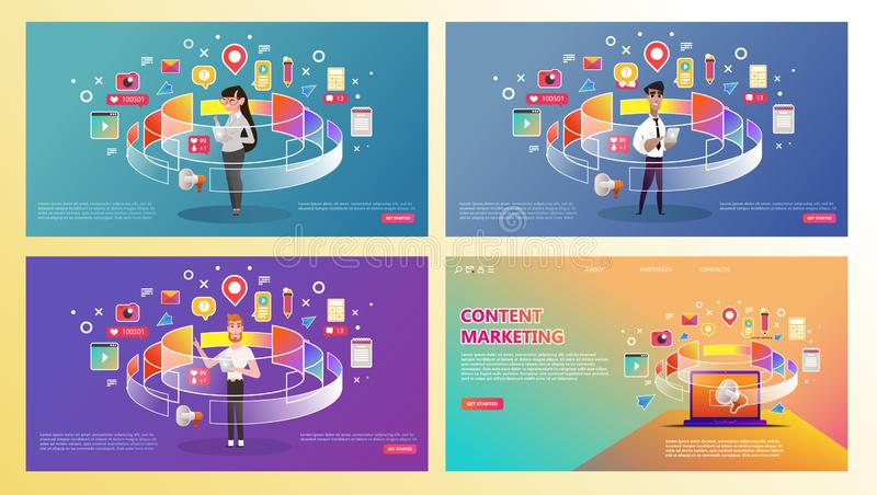 Content marketing landing page set. Abstract illustration of content icons around professional - vector royalty free illustration