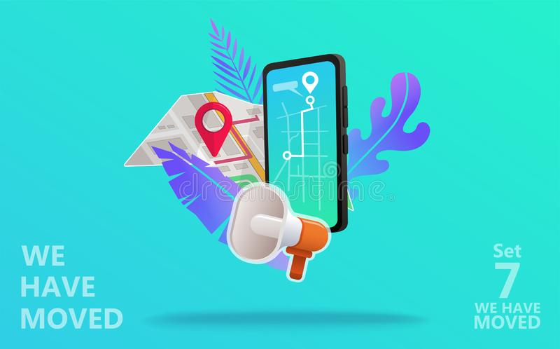 We have moved vector illustration concept. stock illustration