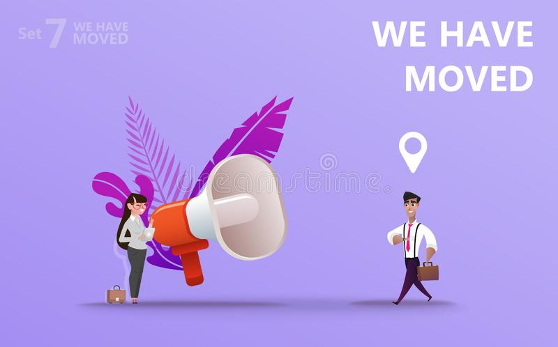 We have moved vector illustration concept. royalty free illustration