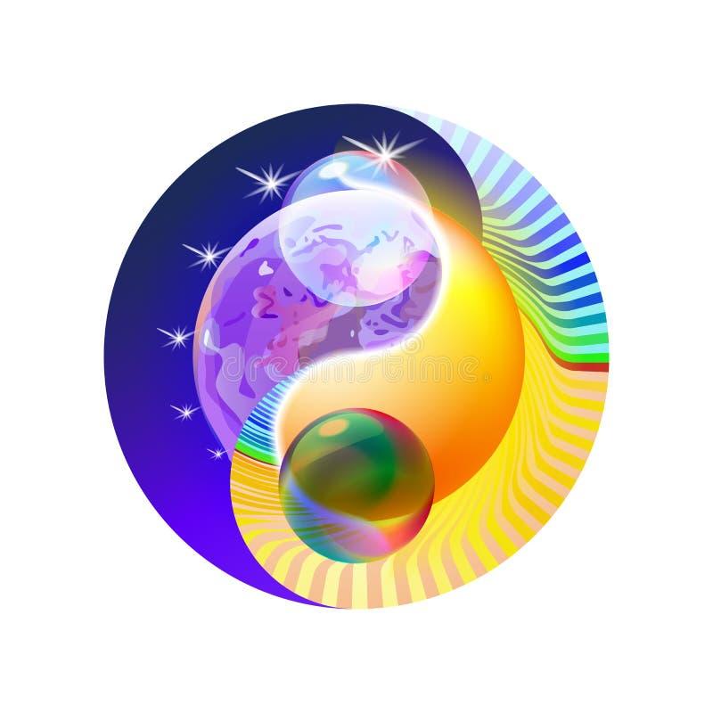 Обрядовая концепция Yin оформления и мандала Yang Красочное солнце или орнаментальная луна, духовная релаксация современное голуб иллюстрация штока