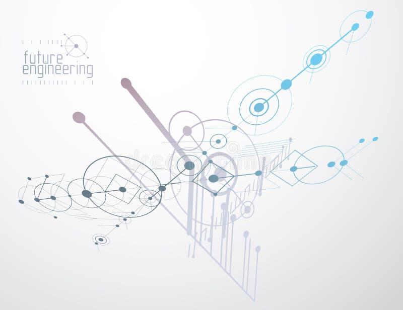 Обои вектора технологии инженерства сделанные с кругами и линиями иллюстрация вектора