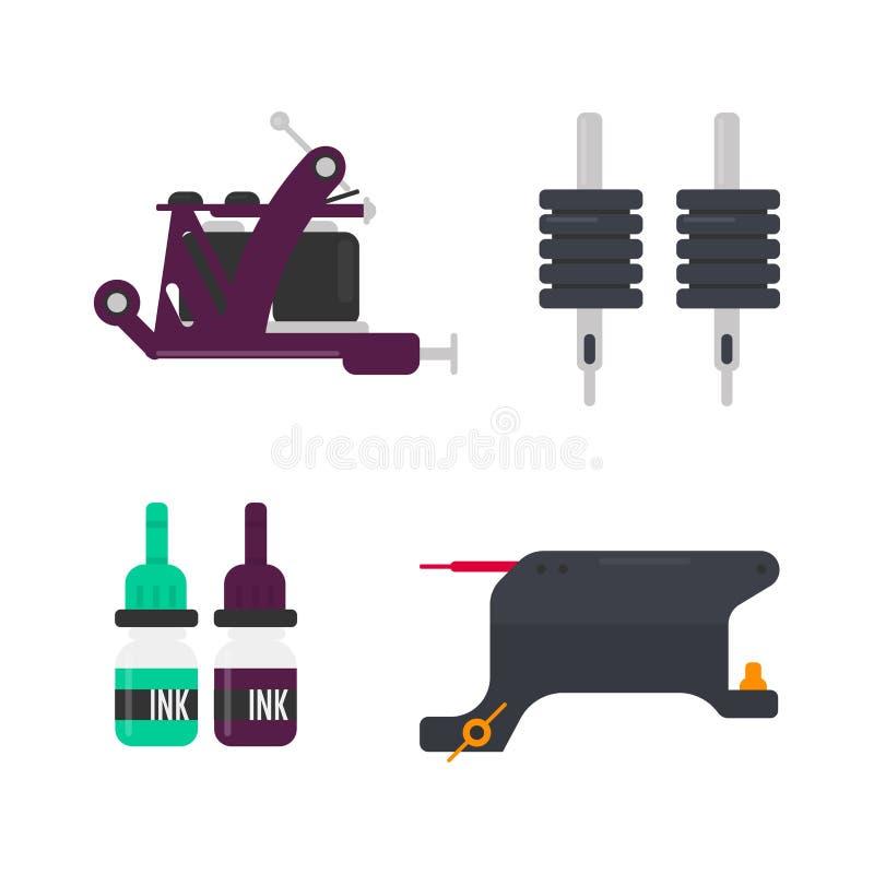 Оборудование татуировки и профессиональные бутылки с вектором чернил бесплатная иллюстрация