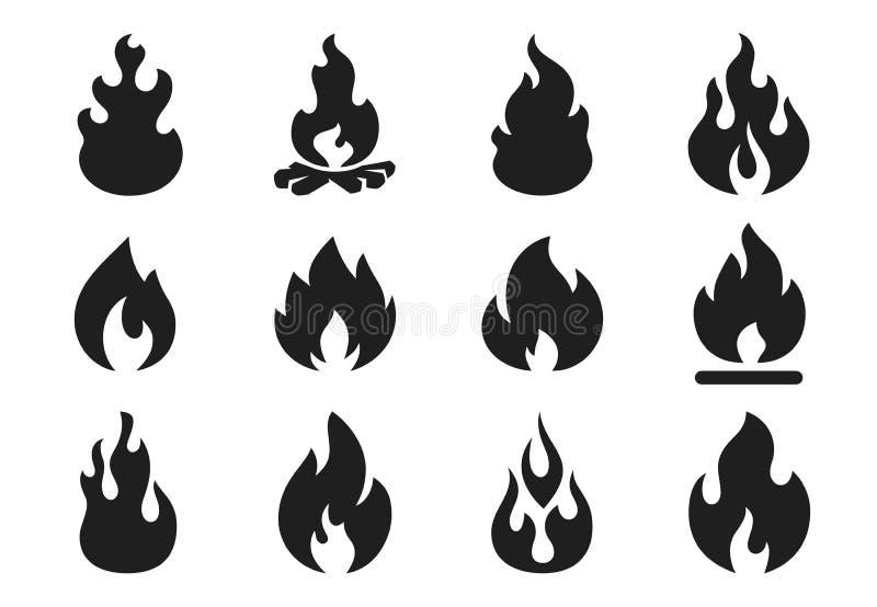 Огонь пылает силуэт Лагерный костер пылать, горячая форма пламени ада Простой набор значков иллюстрации вектора иллюстрация штока