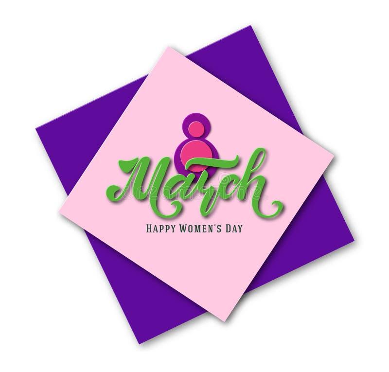 8-ое марта открытка женщины дня s Бумажная отрезанная предпосылка праздника литерность Ультрамодный шаблон конструкции мать s дня иллюстрация штока
