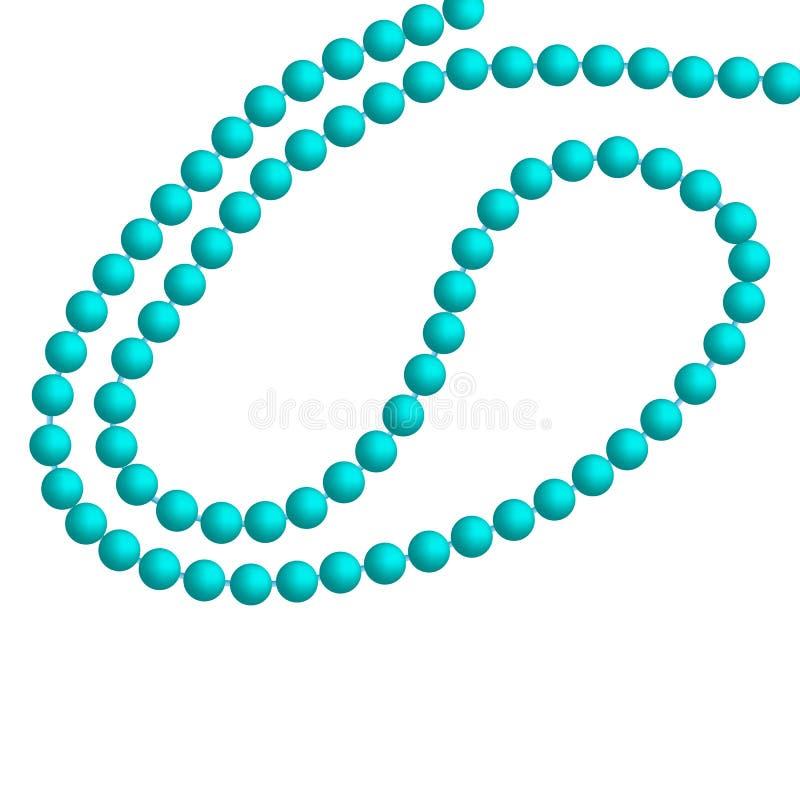 Ожерелье жемчуга бирюзы над белой предпосылкой также вектор иллюстрации притяжки corel иллюстрация вектора