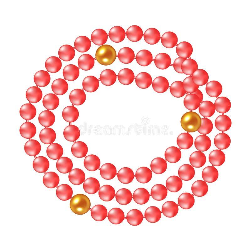 Ожерелье жемчугов коралла на белой предпосылке также вектор иллюстрации притяжки corel бесплатная иллюстрация