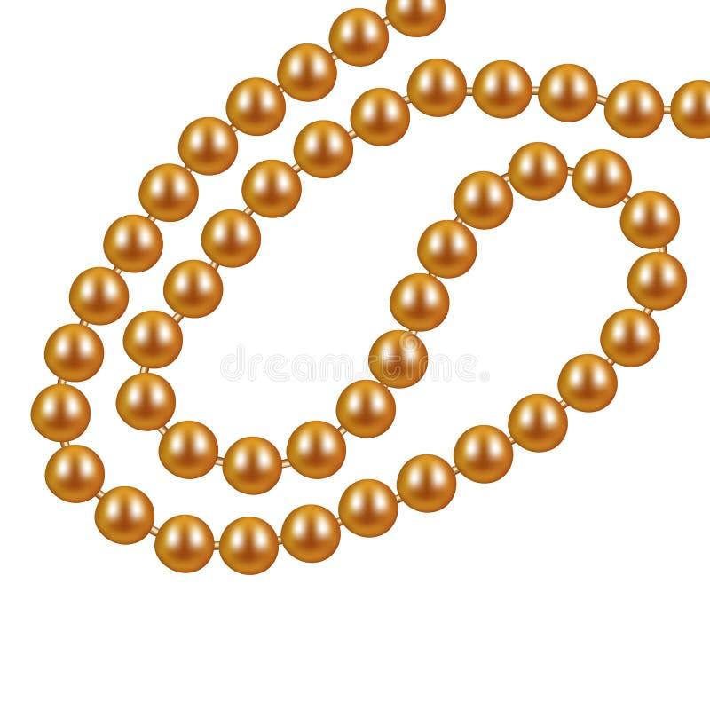 Ожерелье золота от жемчугов на белой предпосылке также вектор иллюстрации притяжки corel бесплатная иллюстрация