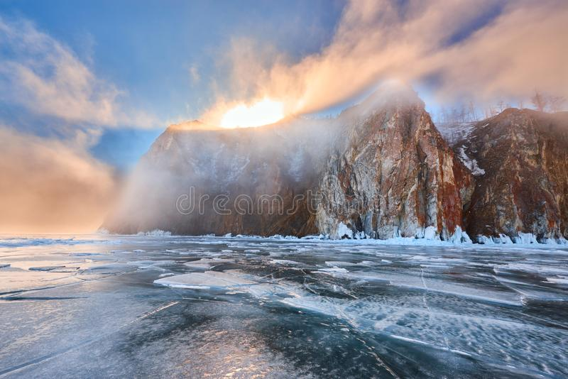 Baikal Lake in winter. With beautiful ice and rocks. The best time ti visit - March royalty free stock photo