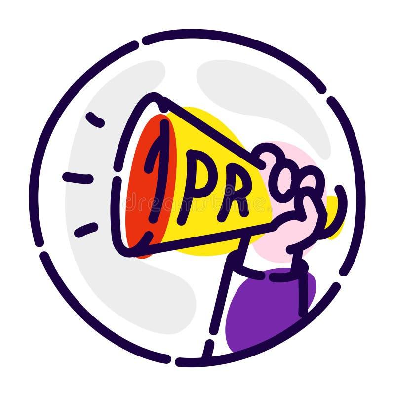 Окрик, мегафон в его руке Значок вектора плоский Реклама и агент PR Изображение изолировано на белой предпосылке рекламировать иллюстрация штока