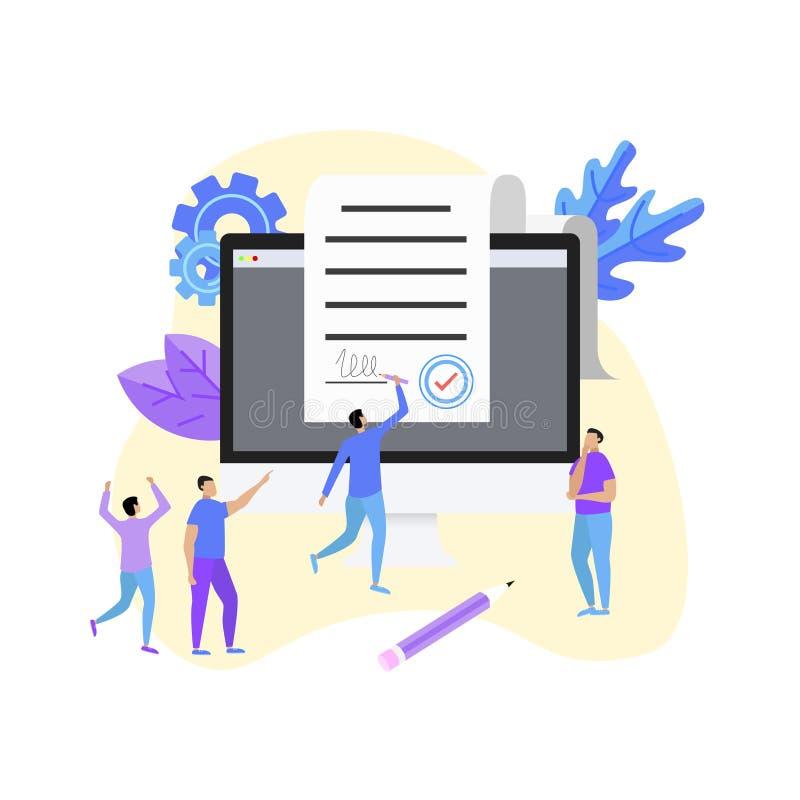 Онлайн электронный умный документ контракта на рабочем столе, печатном документе, подписи на экране компьютера также вектор иллюс иллюстрация вектора
