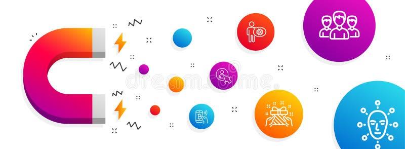 Оплата подарка, Bitcoin и значки Cogwheel набор Знаки биометрии группы, потребителя и стороны Присутствующая, мобильная оплата ве иллюстрация штока