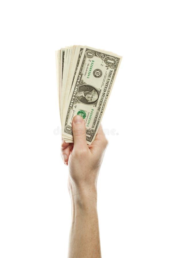 Один американский доллар получают деньги наличными в мужской изолированной руке Подсказки и концепция налога с 1 долларом США бан стоковое изображение rf