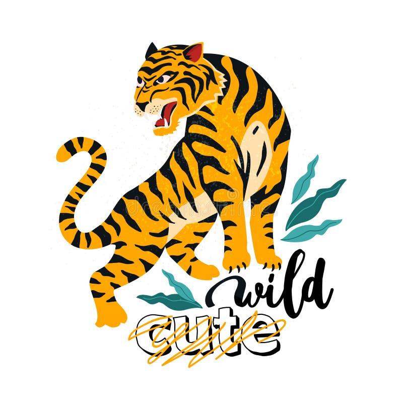 одичало Отсутствие милого Иллюстрация вектора тигра с тропическими листьями Ультрамодный дизайн для карточки, плакат, футболка и  иллюстрация штока