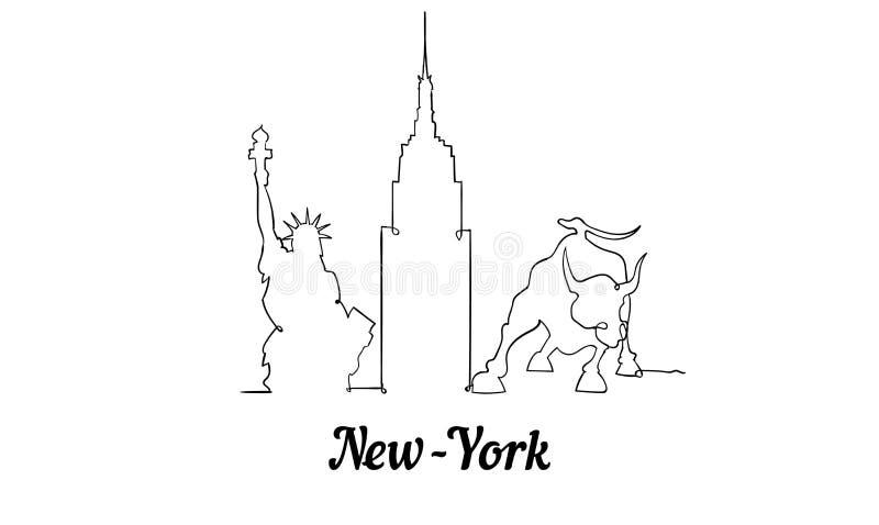 Одна линия горизонт Нью-Йорка стиля Простой современный minimaistic вектор стиля иллюстрация штока