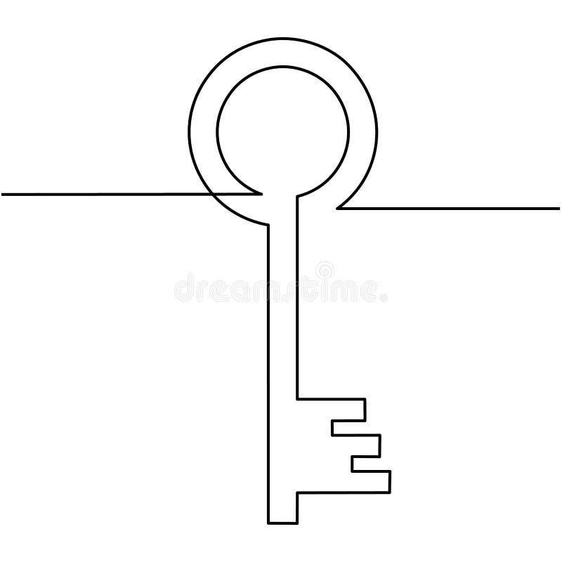 Одна линия чертеж изолированного объекта вектора - старого ключа бесплатная иллюстрация