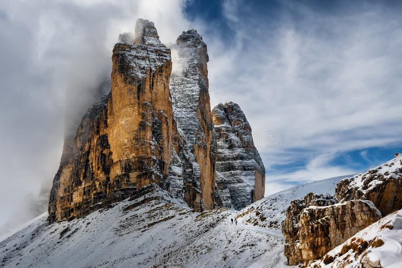 Осень в доломитах, Cime Tre природного парка Северная Италия стоковое изображение rf