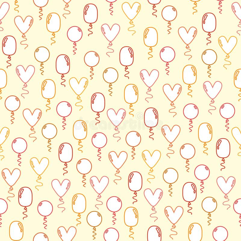 Seamless pattern with doodle red,pink and yellow balloons on a pink beige background stock illustration