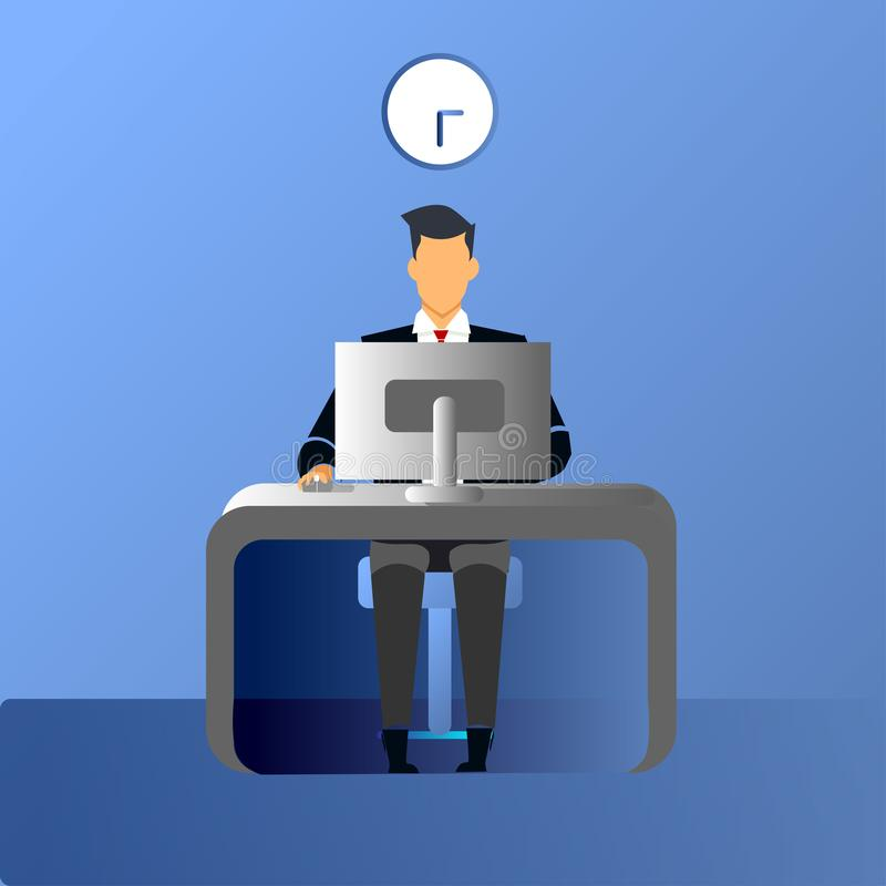 Businessman working in the office vector illustration