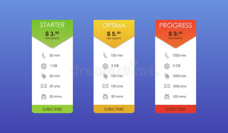 Vector design for web app. Set offer tariffs. Price list. royalty free illustration