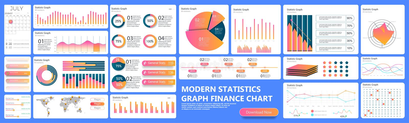 Infographic dashboard. Finance data analytic charts, trade statistic graph and modern business chart column. Analytics. Infographics ui stats graph futuristic vector illustration