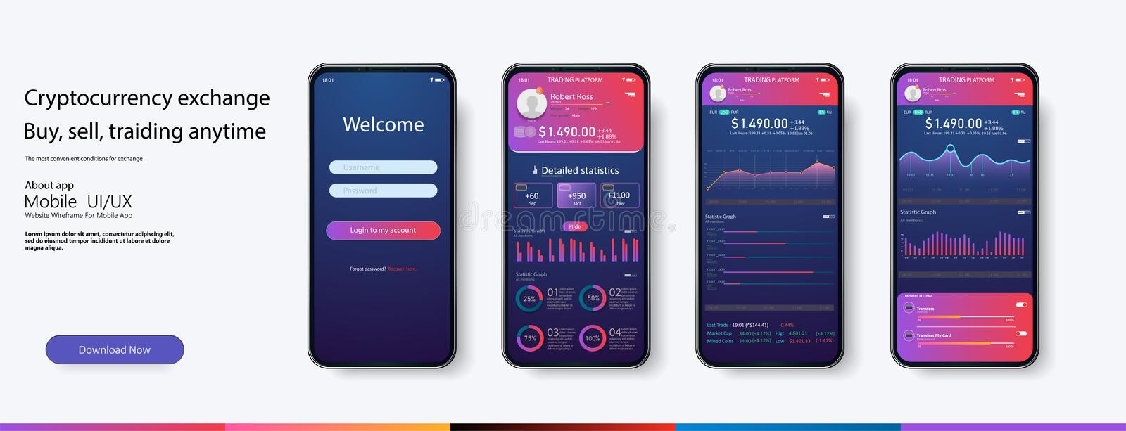 Mobile app infographic template with modern design weekly and annual statistics vector illustration