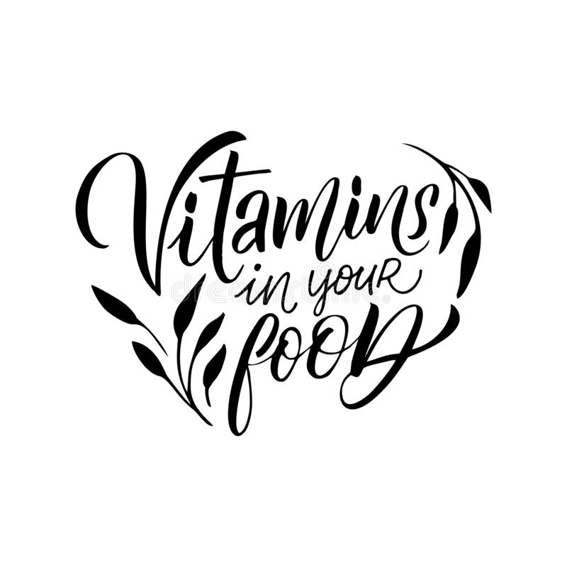 Design template in trendy linear style with hand-lettering - Vitamins in your food- vegetarian and organic food badge. Vector logo design template in trendy royalty free illustration