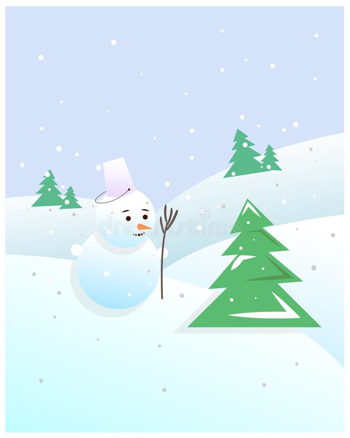 Painted Christmas snowman in the snow among the fur-trees royalty free stock images