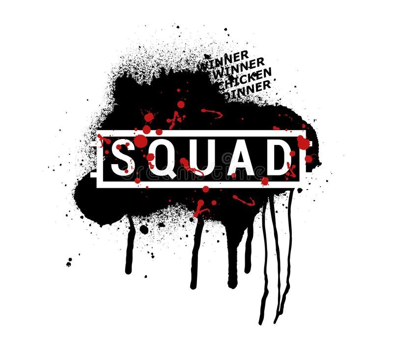 SQUAD - vector abstract illustration in grunge style. PUBG royalty free illustration
