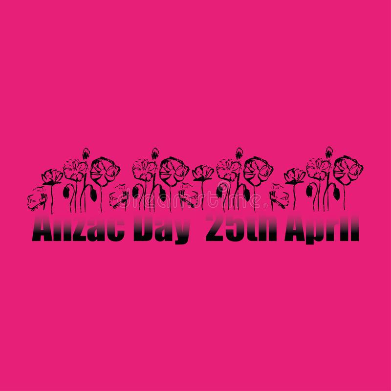 Anzac day 25th of April remembrance on pink background stock illustration